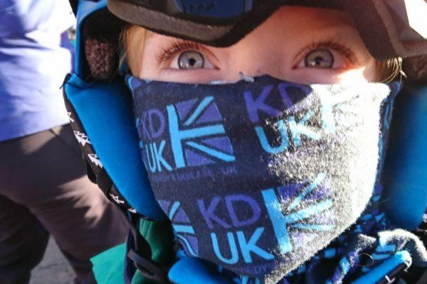 Hitting the slopes sporting a fantastic KD-UK buff.