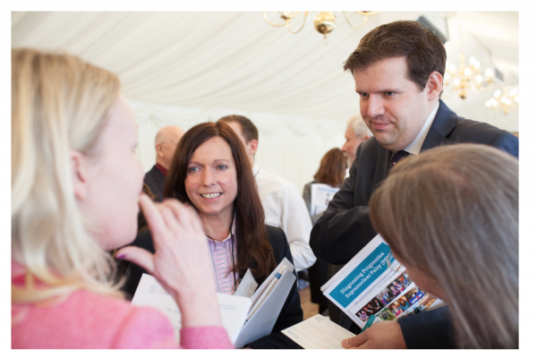 Karen Woollam one of our Trustees chatting to MP Ben Howlett at RRD in House of Commons 2016
